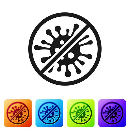 Black Stop virus, bacteria, germs and microbe icon isolated on white background. Antibacterial and antiviral defence, protection infection. Set icon in color square buttons. Vector Illustration