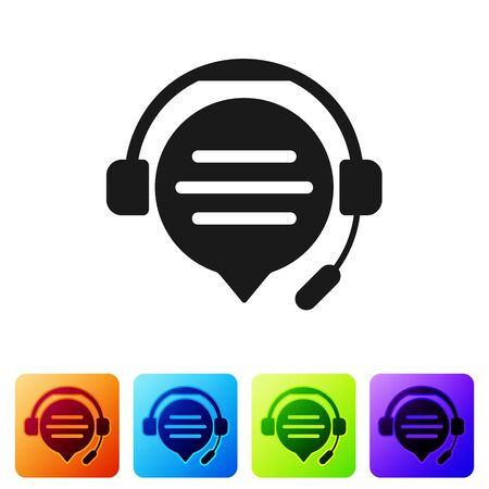 Black Headphones with speech bubble chat icon isolated on white background. Support customer service, hotline, call center, faq, maintenance. Set icon in color square buttons. Vector Illustration