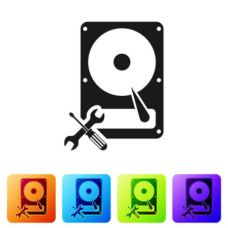 Black Hard disk drive with screwdriver and wrench icon isolated on white background. Adjusting, service, setting, maintenance, repair, fixing. Set icon in color square buttons. Vector Illustration