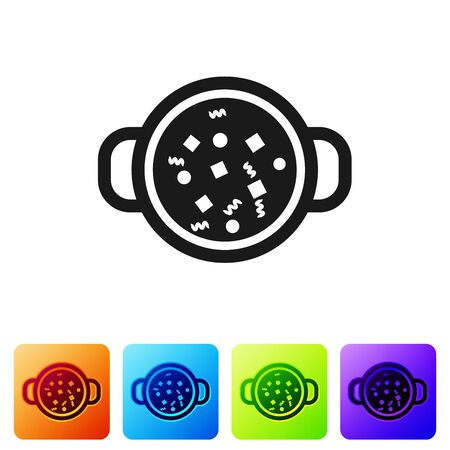 Black Cooking soup in pot icon isolated on white background. Boil or stew food symbol. Set icon in color square buttons. Vector Illustration