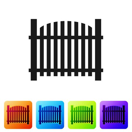 Black Garden fence wooden icon isolated on white background. Set icon in color square buttons. Vector Illustration Vettoriali