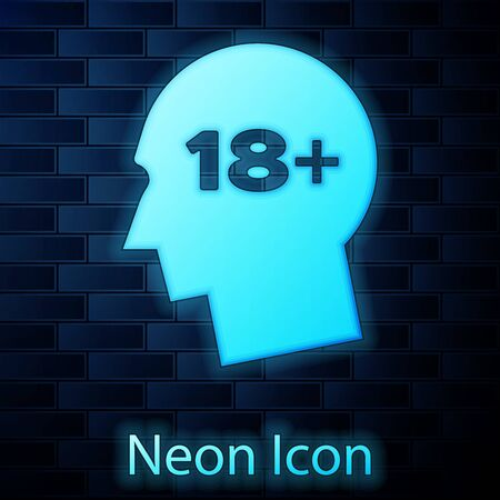Glowing neon Human head with inscription 18 plus icon isolated on brick wall background. 18 plus content sign. Adults content only icon. Vector Illustration