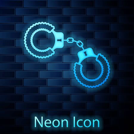 Glowing neon Sexy fluffy handcuffs icon isolated on brick wall background. Handcuffs with fur. Fetish accessory. Sex shop stuff for sadist and masochist. Vector Illustration
