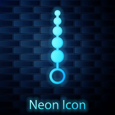 Glowing neon Anal beads icon isolated on brick wall background. Anal balls sign. Fetish accessory. Sex toy for men and woman. Vector Illustration