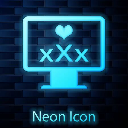 Glowing neon Computer monitor with 18 plus content heart icon isolated on brick wall background. Age restriction symbol. XXX content sign. Adult channel. Vector Illustration 向量圖像