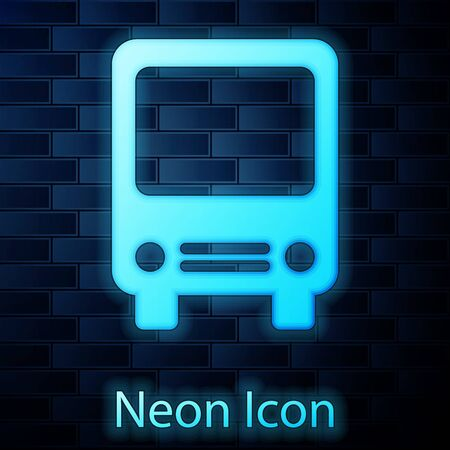 Glowing neon Bus icon isolated on brick wall background. Transportation concept. Bus tour transport sign. Tourism or public vehicle symbol. Vector Illustration