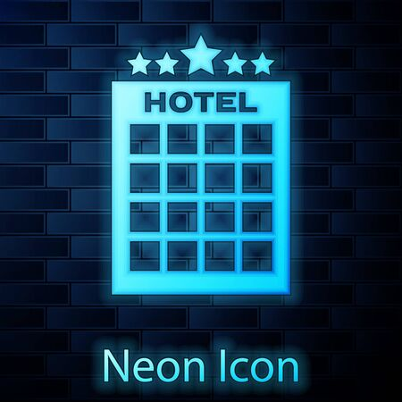 Glowing neon Hotel building icon isolated on brick wall background. Vector Illustration