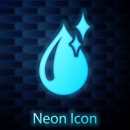 Glowing neon Clean water drop icon isolated on brick wall background. Vector Illustration