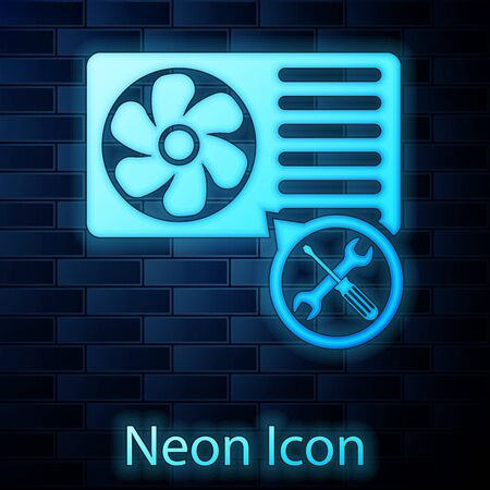 Glowing neon Air conditioner with screwdriver and wrench icon isolated on brick wall background. Adjusting, service, setting, maintenance, repair, fixing. Vector Illustration Illustration