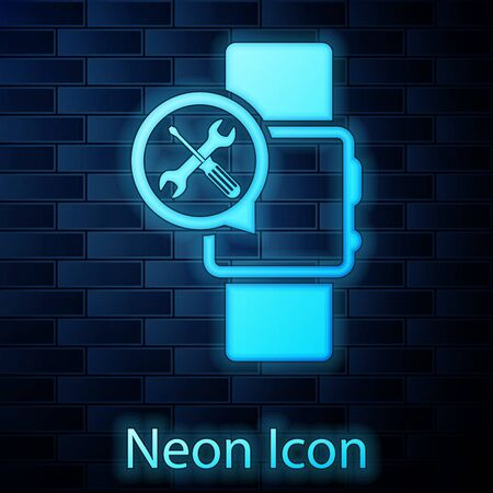 Glowing neon Smartwatch with screwdriver and wrench icon isolated on brick wall background. Adjusting, service, setting, maintenance, repair, fixing. Vector Illustration