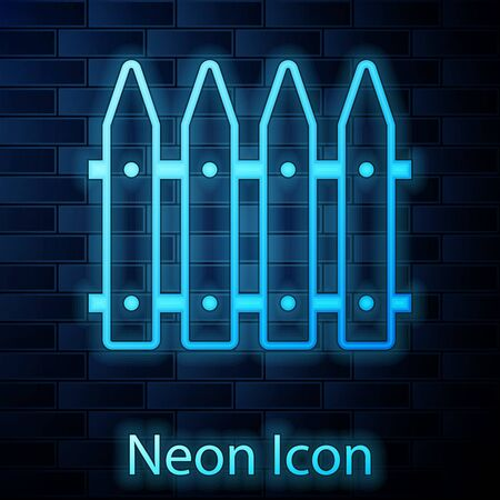 Glowing neon Garden fence wooden icon isolated on brick wall background. Vector Illustration