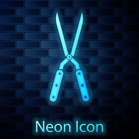 Glowing neon Gardening handmade scissors for trimming icon isolated on brick wall background. Pruning shears with wooden handles. Vector Illustration