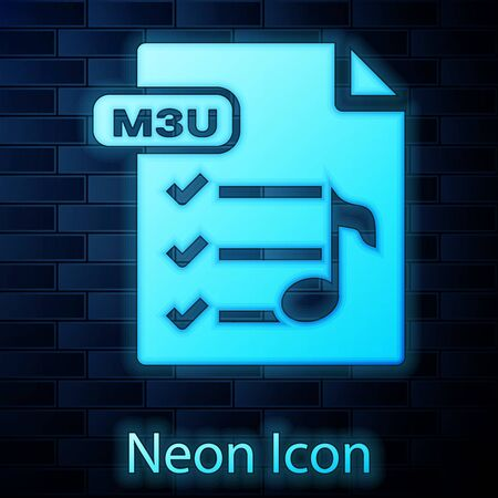 Glowing neon M3U file document. Download m3u button icon isolated on brick wall background. M3U file symbol. Vector Illustration
