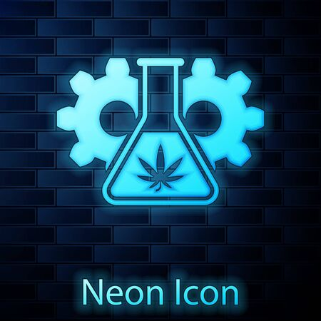 Glowing neon Chemical test tube with marijuana or cannabis leaf icon isolated on brick wall background. Research concept. Laboratory CBD oil concept. Vector Illustration Vectores