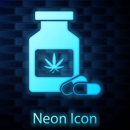 Glowing neon Medical bottle with marijuana or cannabis leaf icon isolated on brick wall background. Mock up of cannabis oil extracts in jars. Vector Illustration