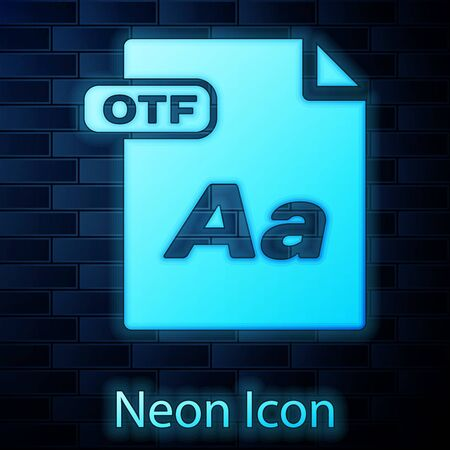 Glowing neon OTF file document. Download otf button icon isolated on brick wall background. OTF file symbol. Vector Illustration