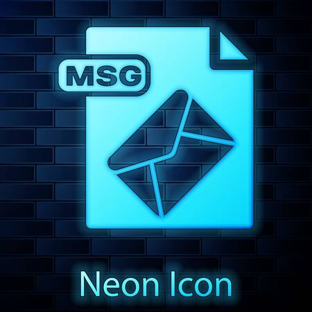 Glowing neon MSG file document. Download msg button icon isolated on brick wall background. MSG file symbol. Vector Illustration