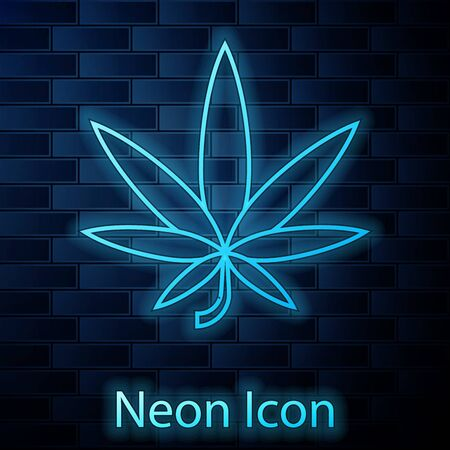 Glowing neon Medical marijuana or cannabis leaf icon isolated on brick wall background. Hemp symbol. Vector Illustration