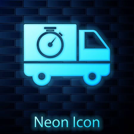 Glowing neon Logistics delivery truck and stopwatch icon isolated on brick wall background. Delivery time icon. Vector Illustration 일러스트
