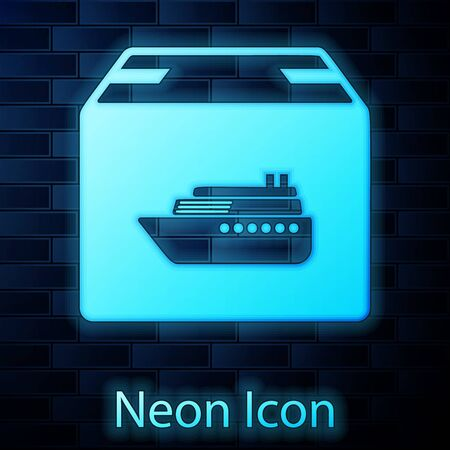Glowing neon Cargo ship with boxes delivery service icon isolated on brick wall background. Delivery, transportation. Freighter with parcels, boxes, goods. Vector Illustration Stock Vector - 127755479