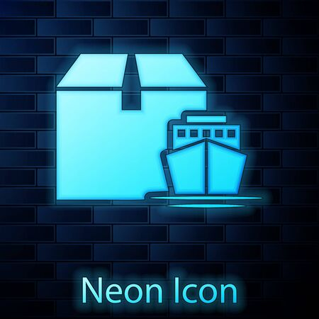 Glowing neon Cargo ship with boxes delivery service icon isolated on brick wall background. Delivery, transportation. Freighter with parcels, boxes, goods. Vector Illustration