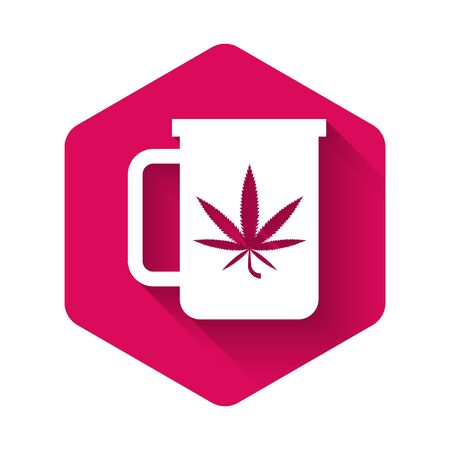 White Cup tea with marijuana or cannabis leaf icon isolated with long shadow. Marijuana legalization. Hemp symbol. Pink hexagon button. Vector Illustration