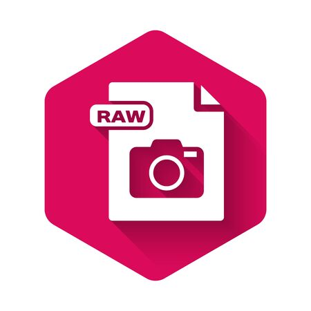 White RAW file document  Download raw button icon isolated with