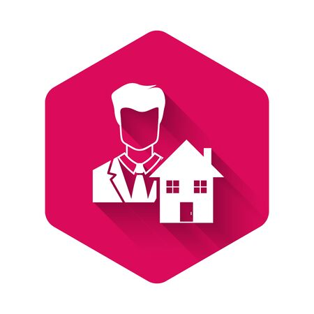 White Realtor icon isolated with long shadow. Buying house. Pink hexagon button. Vector Illustration Illustration