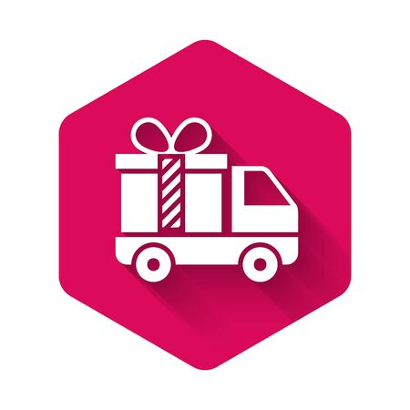 White Delivery truck with gift icon isolated with long shadow. Pink hexagon button. Vector Illustration