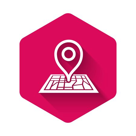 White Placeholder on map paper in perspective icon isolated with long shadow. Pink hexagon button. Vector Illustration