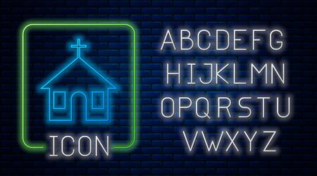 Glowing neon Church building icon isolated on brick wall background. Christian Church. Religion of church. Neon light alphabet. Vector Illustration Illustration