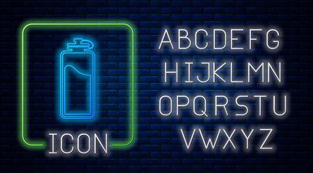 Glühende Neon-Sportflasche mit Wassersymbol isoliert auf Backsteinmauerhintergrund. Neonlicht-Alphabet. Vektorillustration
