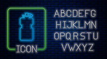 Glowing neon Sport bottle with water icon isolated on brick wall background. Neon light alphabet. Vector Illustration