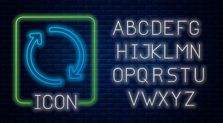 Glowing neon Refresh icon isolated on brick wall background. Reload symbol. Rotation arrows in a circle sign. Neon light alphabet. Vector Illustration