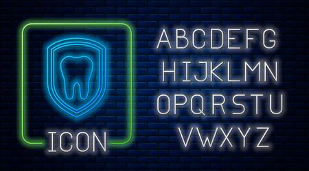 Glowing neon Dental protection icon isolated on brick wall background. Tooth on shield logo icon. Neon light alphabet. Vector Illustration