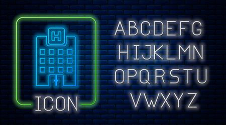 Glowing neon Medical hospital building with cross icon isolated on brick wall background. Medical center. Health care. Neon light alphabet. Vector Illustration Stok Fotoğraf - 127832725