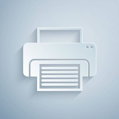 Paper cut Printer icon isolated on grey background. Paper art style. Vector Illustration