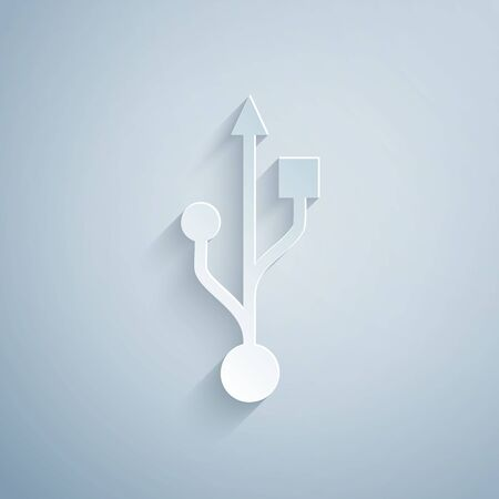 Paper cut USB symbol icon isolated on grey background. Paper art style. Vector Illustration