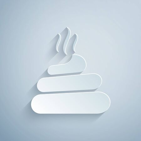 Paper cut Shit icon isolated on grey background. Paper art style. Vector Illustration Illustration