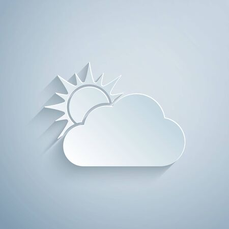 Paper cut Sun and cloud weather icon isolated on grey background. Paper art style. Vector Illustration Vecteurs