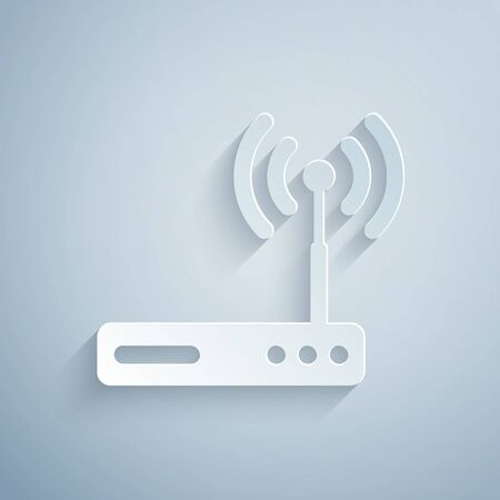 Paper cut Router and wireless signal symbol icon isolated on grey background. Wireless modem router. Computer technology internet. Paper art style. Vector Illustration