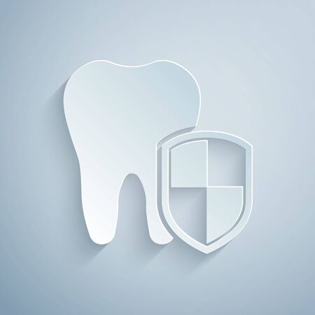 Paper cut Dental protection icon isolated on grey background. Tooth on shield logo. Paper art style. Vector Illustration Illustration