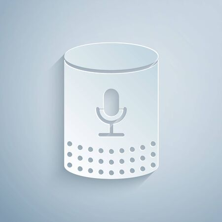 Paper cut Voice assistant icon isolated on grey background. Voice control user interface smart speaker. Paper art style. Vector Illustration