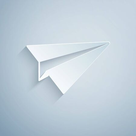 Paper cut Paper plane icon isolated on grey background. Paper airplane icon. Aircraft sign. Paper art style. Vector Illustration Stock Illustratie