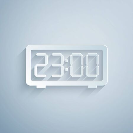 Paper cut Digital alarm clock icon isolated on grey background. Electronic watch alarm clock. Time icon. Paper art style. Vector Illustration