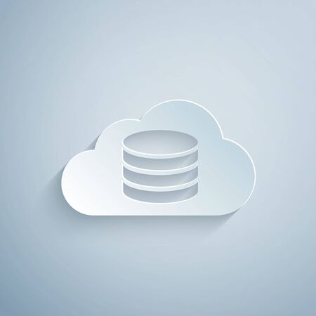 Paper cut Cloud database icon isolated on grey background. Cloud computing concept. Digital service or app with data transferring. Paper art style. Vector Illustration