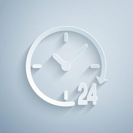 Papier découpé Horloge 24 heures icône isolé sur fond gris. Icône cyclique toute la journée. Symbole de service 24 heures. Style d'art du papier. Illustration vectorielle
