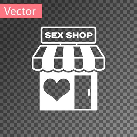 White Sex shop building with striped awning icon isolated on transparent background. Sex shop, online sex store, adult erotic products concept. Vector Illustration  イラスト・ベクター素材
