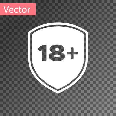 White Shield with inscription 18 plus icon isolated on transparent background. Adults content only. Protection, safety, security, protect concept. Vector Illustration