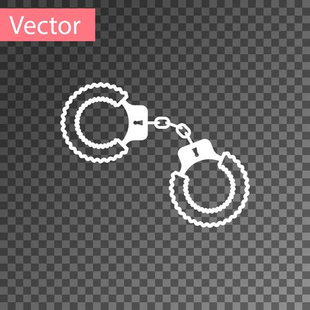White Sexy fluffy handcuffs icon isolated on transparent background. Handcuffs with fur. Fetish accessory. Sex shop stuff for sadist and masochist. Vector Illustration
